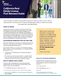 Allied California Real Estate License First Renewal Guide